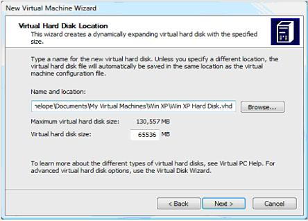 Virtual HArd Disk Location Setting